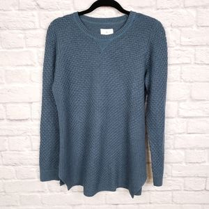 Lou & Grey Teal Blue Crew Neck Wool Blend Sweater